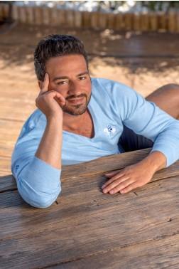 Baronet Monaco Pullover mit V-Ausschnitt und gerippten Abschlüssen - Hellblau meliert